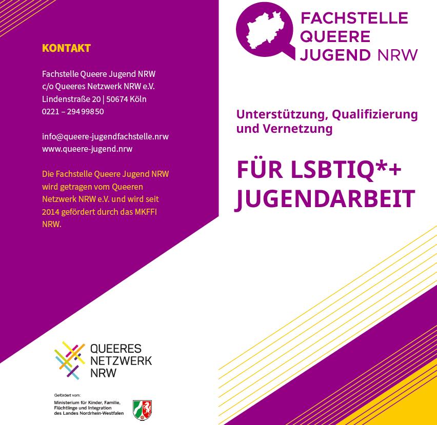 """Das Bild zeigt den Flyer """"Für LSBTIQ* Jugendarbeit, oben in der Ecke steht noch """"Unterstützung, Qualifizierung und Vernetzung"""""""