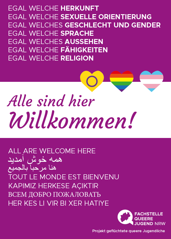 """Das Bild zeigt einen Fyler auf dem in vielen Sprachen """"Alle sind hier Willkommen"""" steht. Zu sehen sind außerdem drei Herzen mit der Inter*-, der Regenbogen- und der Trans*Flagge."""