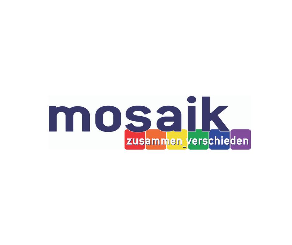 Das Bild zeigt das Logo von mosaik es besteht aus dem Schriftzug mit darunter liegender Regenbogenflagge