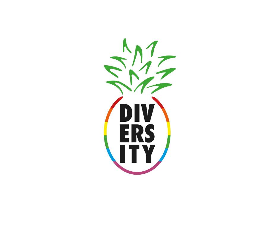 Das Bild zeigt das Logo vom Diversity. Mit Strichen in Regenbogenfarben wird eine Annanas angedeutet. In der Mitte steht Diversity.