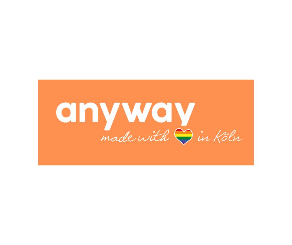 Das Bild zeigt das Orange Weiße Logo des Anyway.