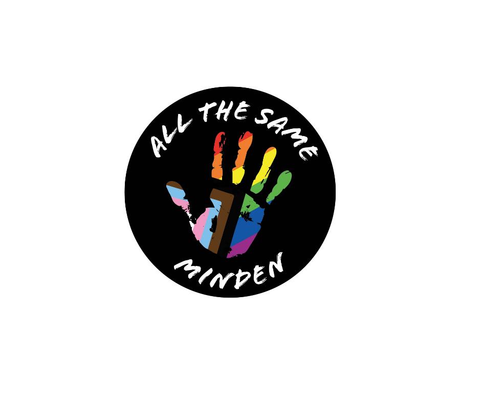 Das Bild zeigt das Logo von All the same. Es besteht aus einem schwarzen Kreis mit weißer Schrift in der Mitte befindet sich ein Handabdruck in farben der Progress-Regenbogen-Fahne