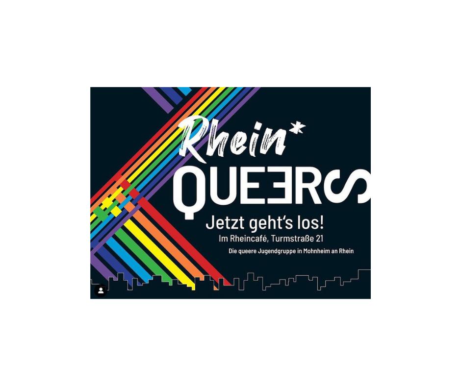 """Das Bild zeigt den Schriftzug """"Rhein Queers"""" und zwei zu einander verlaufende Regenbögen"""