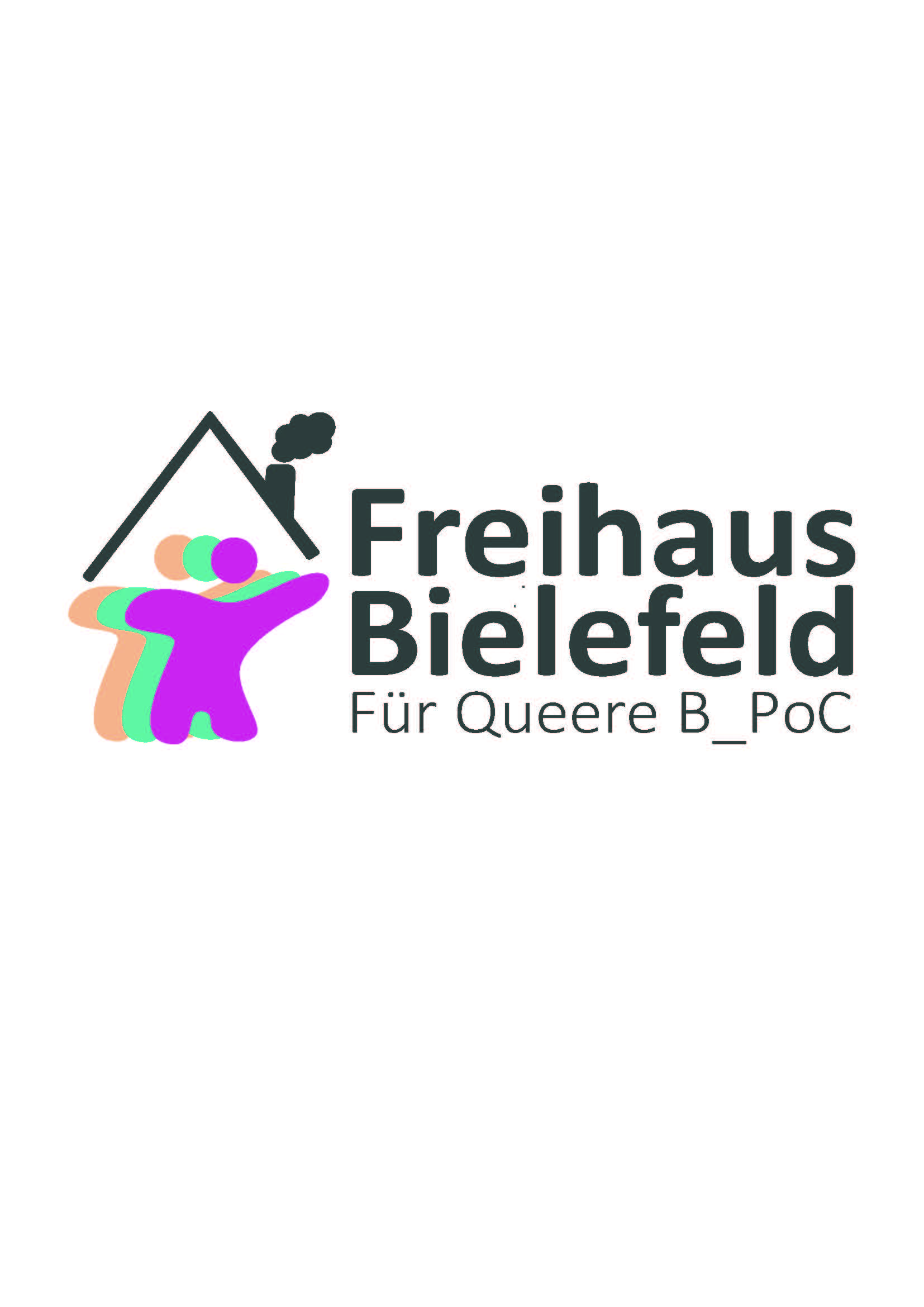 """Das Bild zeigt das Logo von Freihaus Bielefeld es besteht aus einem Hausdach unter dem mehre Figuren in unterschiedlichen Farben stehen. Daneben steht der Schriftzug """"Freihaus Bielfeld - für Queere B_poc"""""""