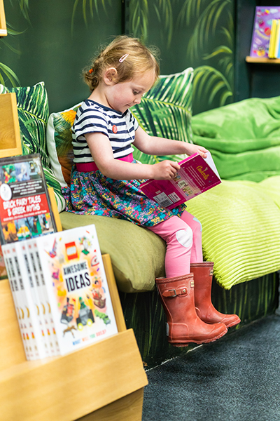 Image of small girl reading book.