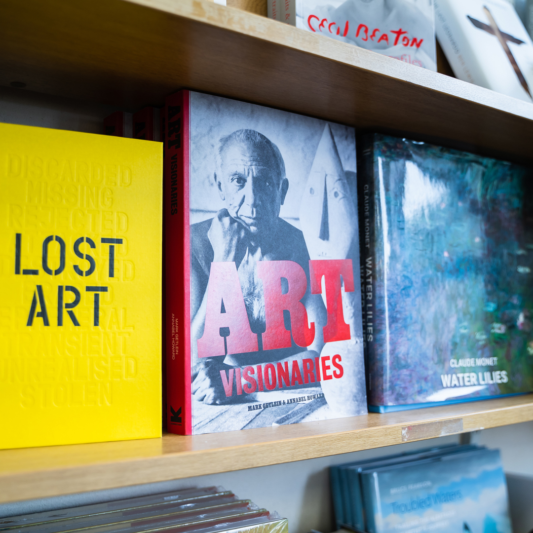 Image of art books in bookstore and cafe.