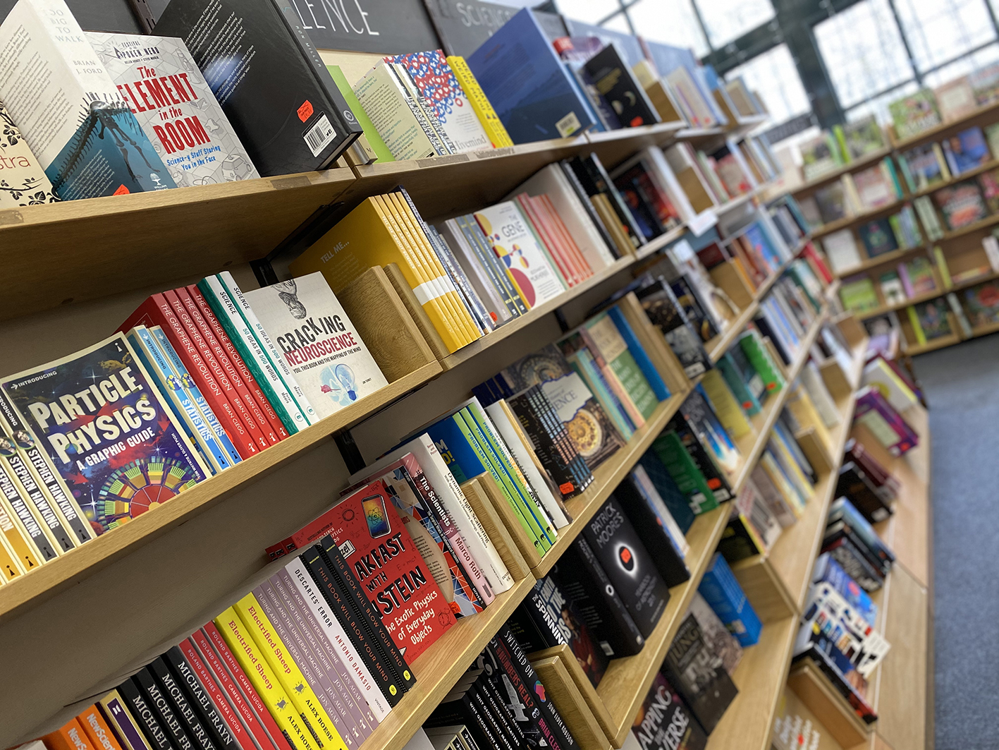 Image of bookstore shelf filled with books.