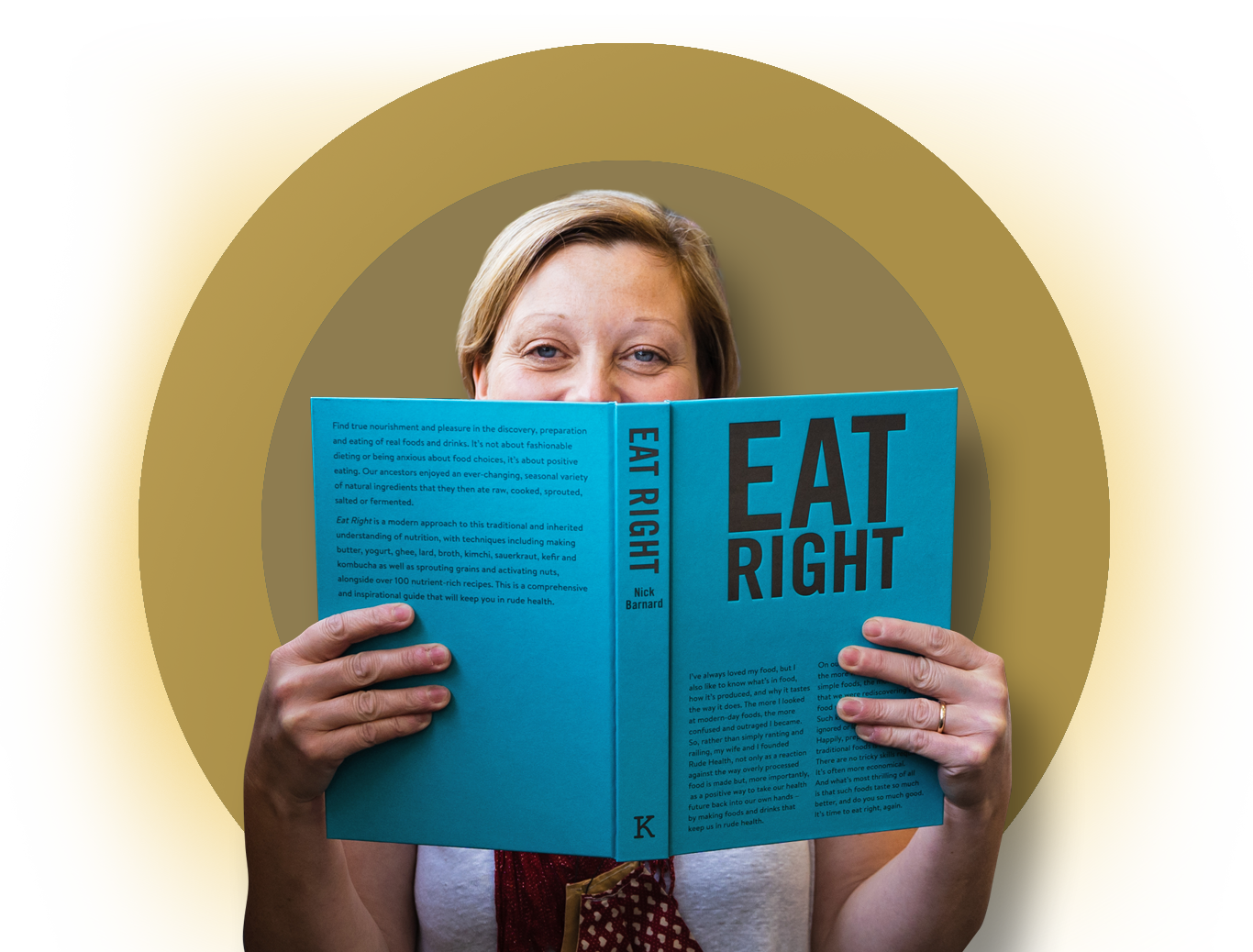 Photo of Claire reading a food book
