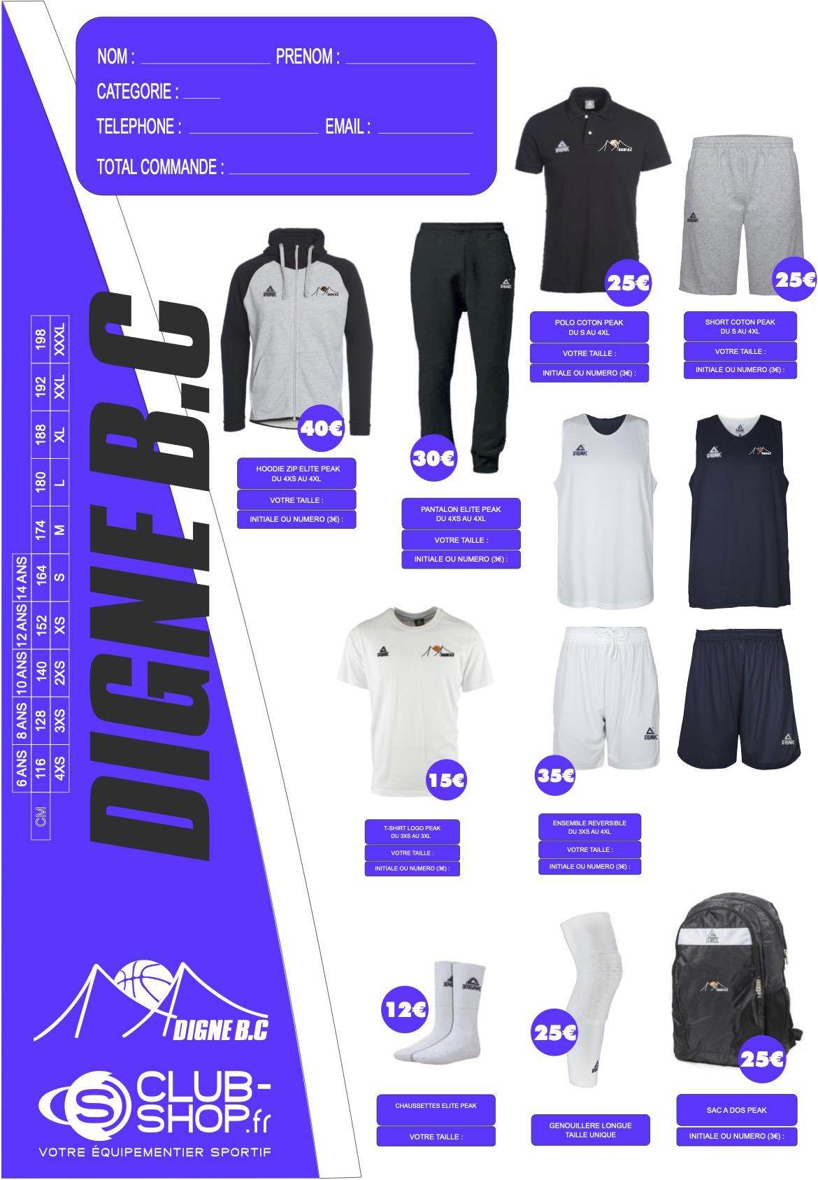 Flyer de la Boutique du Digne Basket Club