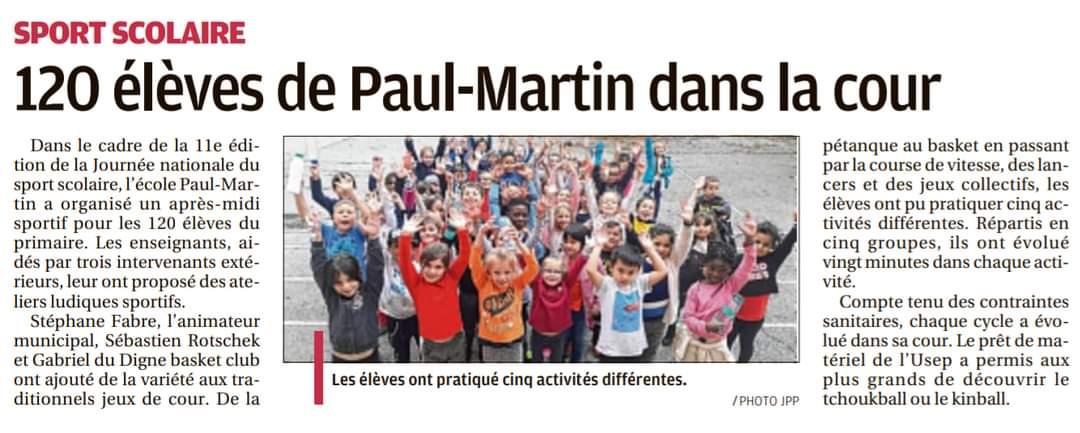 120 élèves de Paul-Martin dans la cour