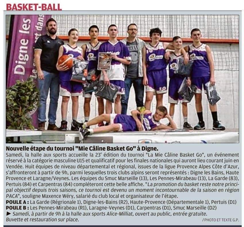 """Nouvelle étape du tournoi """"Mie Câline Basket Go"""" à Digne"""