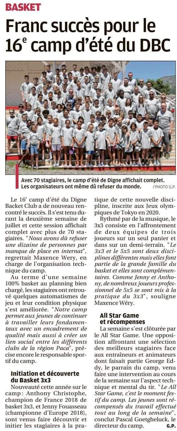 Franc succès pour le 16e camp d'été du DBC