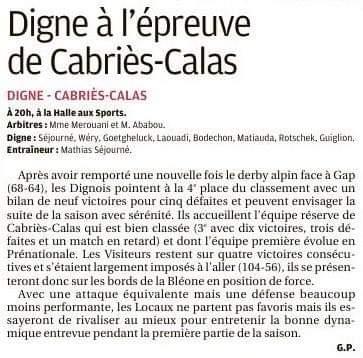 Digne a l'épreuve de Cabriès-Calas