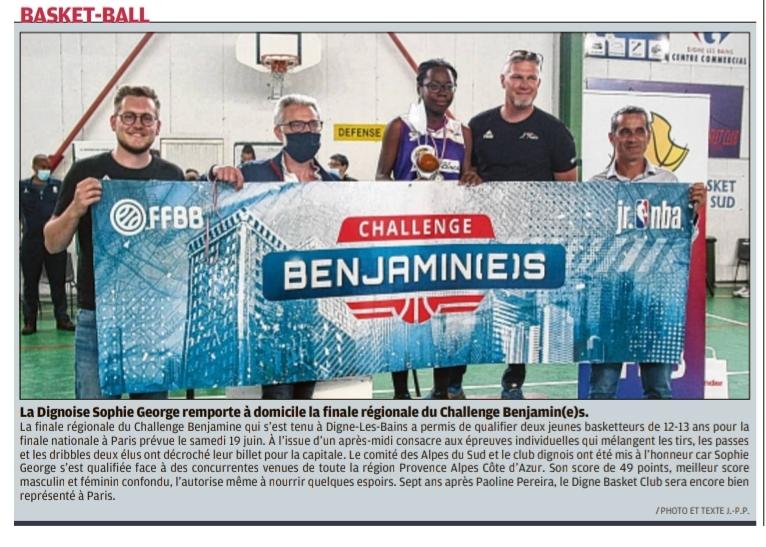 La Dignoise Sophie George remporte à domicile la finale régionale du Challenge Benjamin(e)s