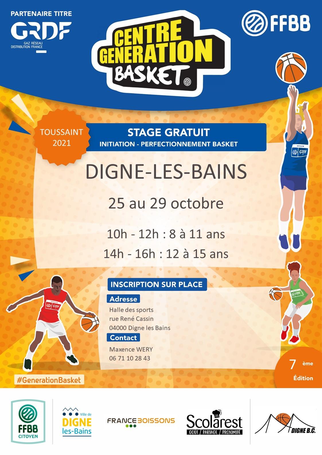 Vacances de la Toussaint : un Centre Génération Basket à Digne les Bains