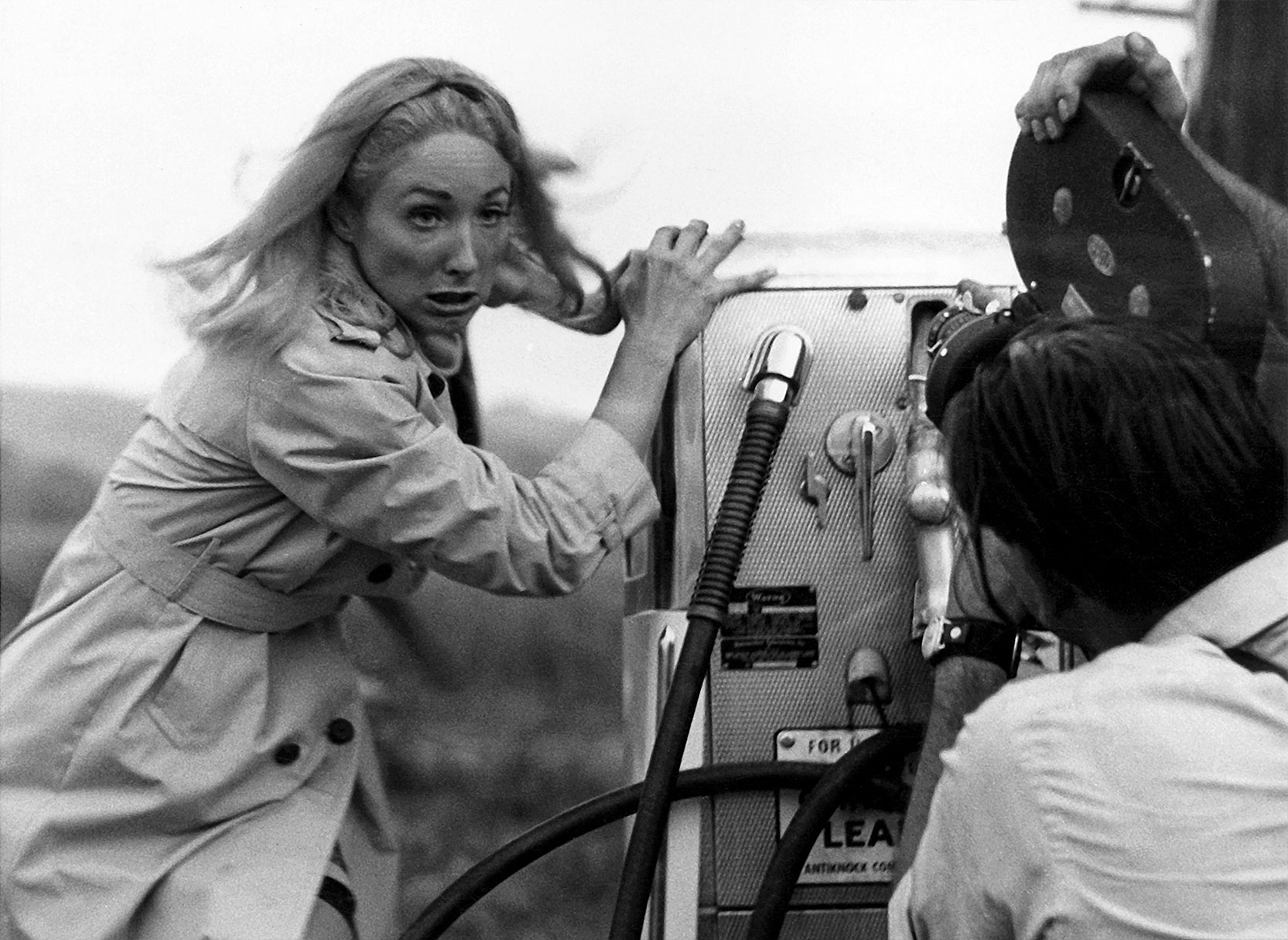 Barbra (Judith O'Dea) and Director George Romero film a scene for Night of the Living Dead. Photo © Image Ten, Inc. All Rights Reserved