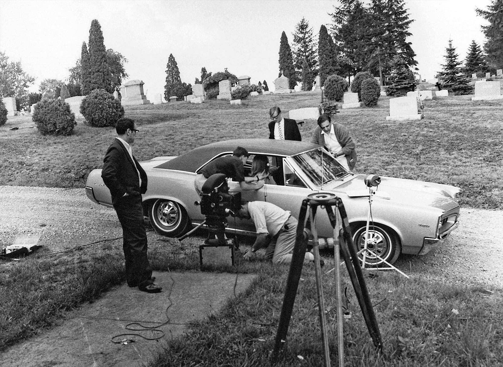 Setting up a scene for Night of the Living Dead in Evans City Cemetery with George Romero Directing. Photo © Image Ten, Inc. All Rights Reserved
