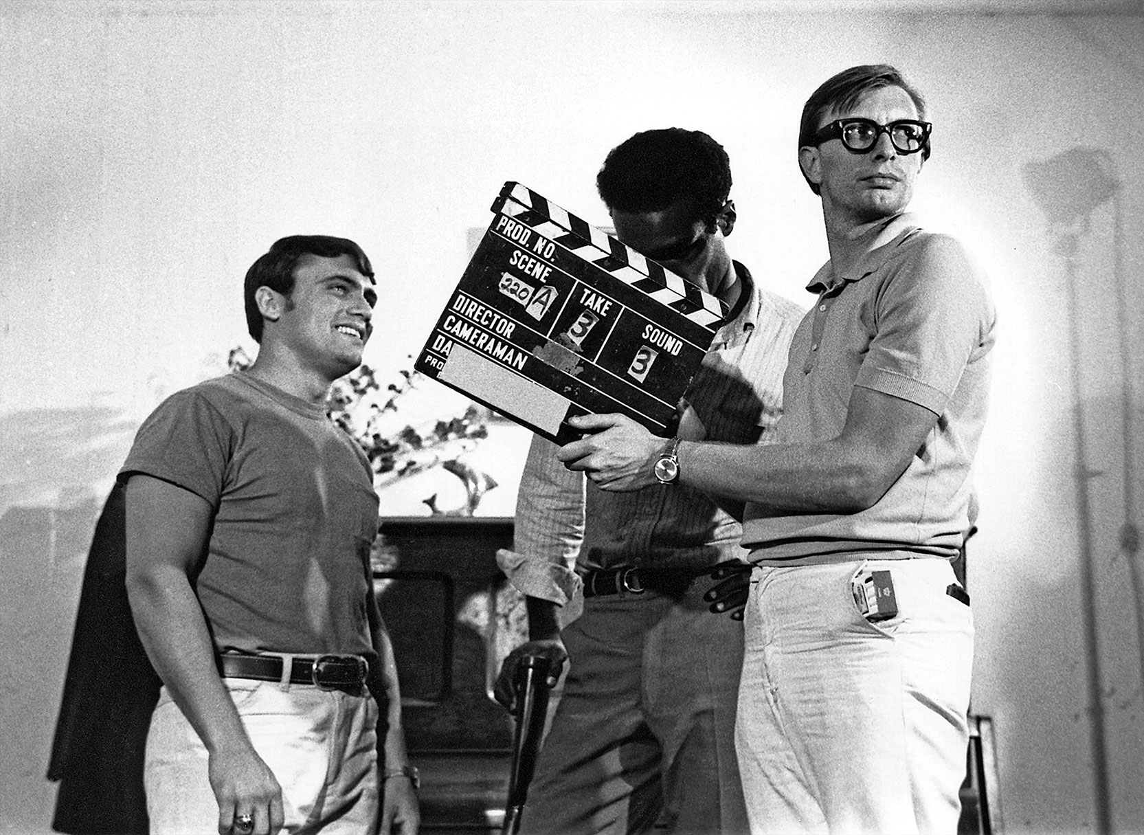 Russ Streiner, Duane Jones and Keith Wayne . Ready to film a scene in Night of the Living Dead. Photo © Image Ten, Inc. All Rights Reserved