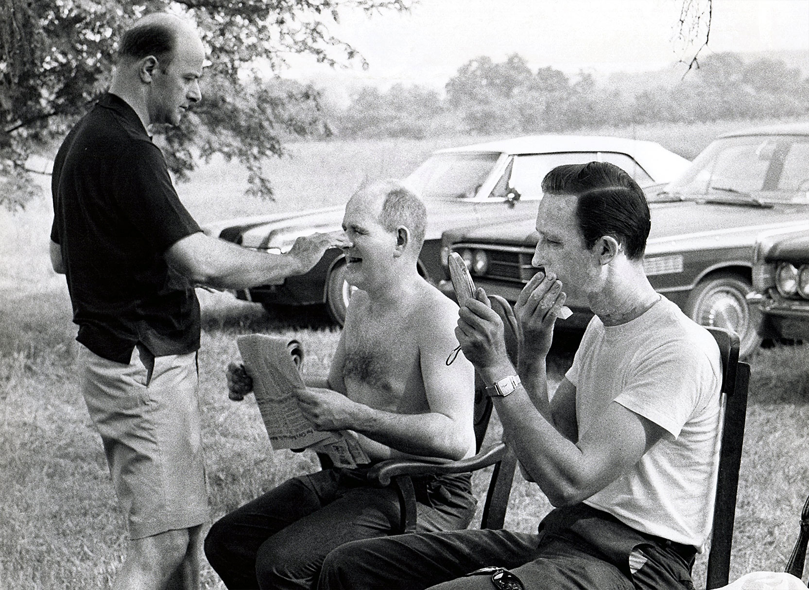 Karl Hardman helps apply Ghoul Make-Up to Herbert Summer , with Charles Craig. Behind the scenes of Night of the Living Dead. Photo © Image Ten, Inc. All Rights Reserved