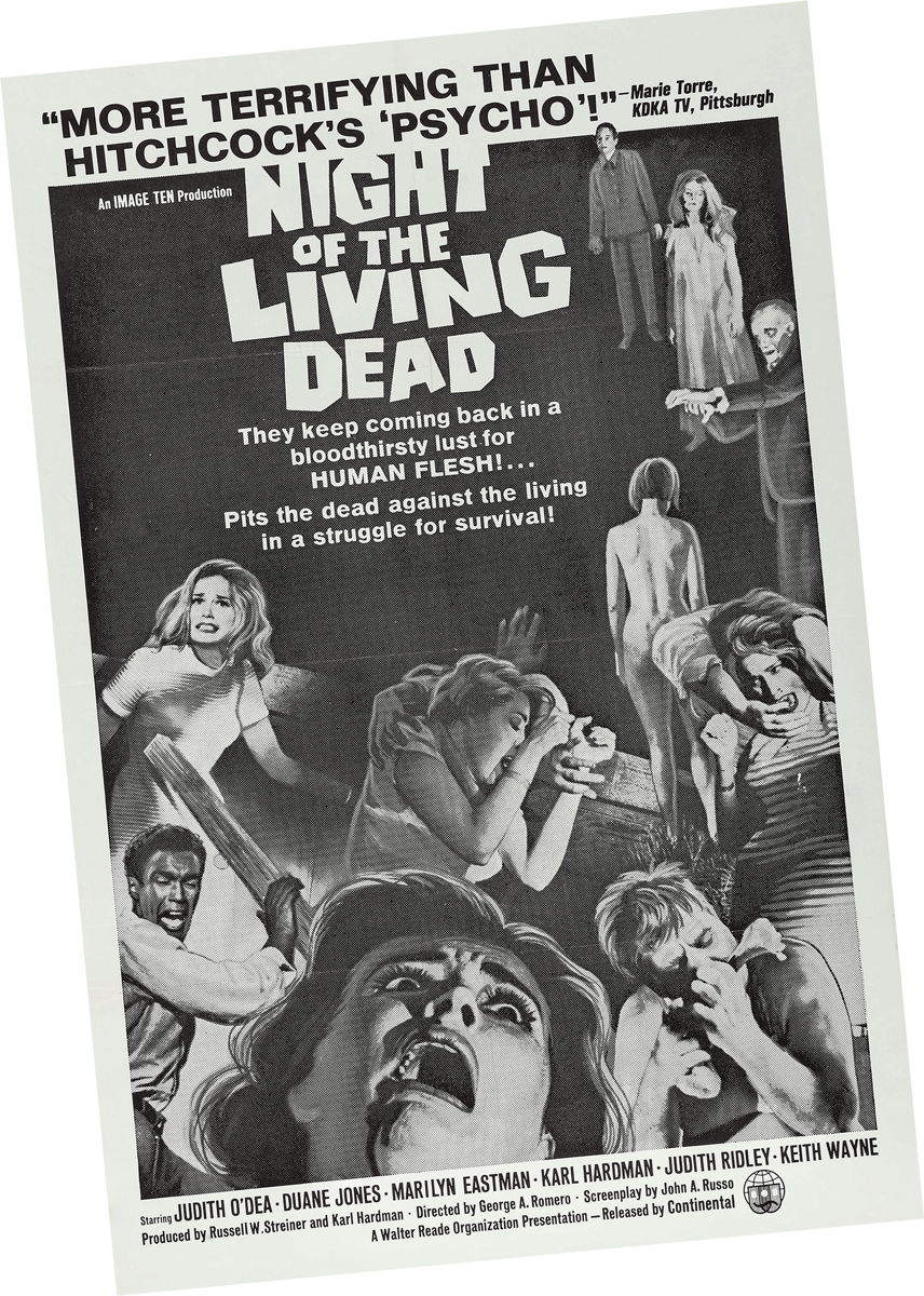 """Night of the Living Dead Theater Poster from Pittsburgh with KDKA TV's Marie Torre quote """"More Terrifying than Hitchcock's 'Psycho'!"""""""