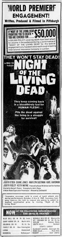 Night of the Living Dead Newspaper Ad from Pittsburgh Post Gazette Fri Oct 4 1968