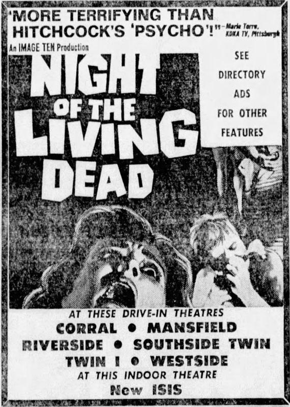 Night of the Living Dead Newspaper ad from Fort Worth Star Telegram Fri Jan 3 1969