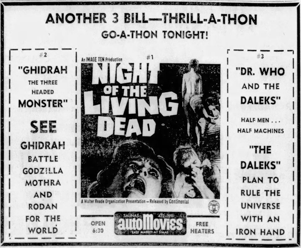 Night of the Living Dead Newspaper ad from The Californian Sat Dec 14 1968