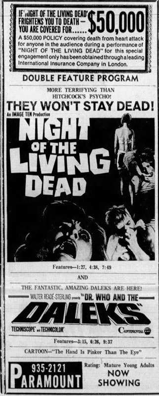 Night of the Living Dead Newspaper ad from The Marshall News Messenger Wed Nov 6 1968