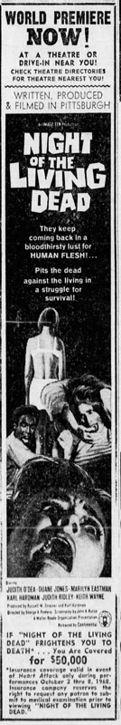 Night of the Living Dead Newspaper Ad from The Pittsburgh Press Sat Oct 5 1968