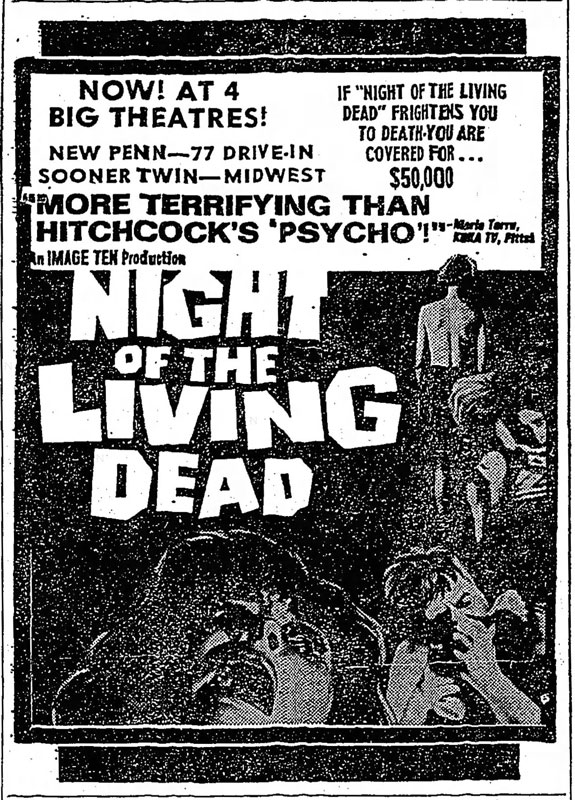 Night of the Living Dead Newspaper ad from The Daily Oklahoman Fri Nov 1 1968