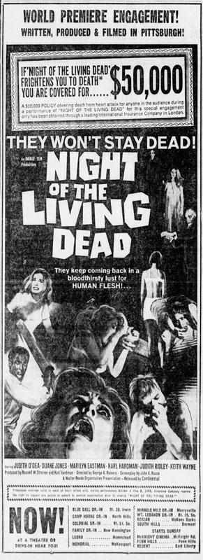 Night of the Living Dead Newspaper Ad from The Pittsburgh Press Fri Oct 4 1968