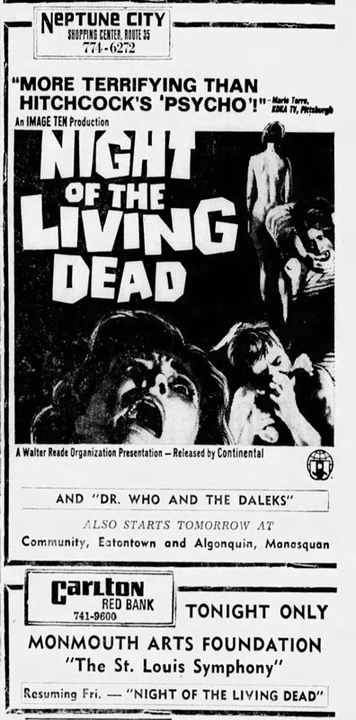 Night of the Living Dead Newspaper ad from Asbury Park Press Thu Dec 12 1968
