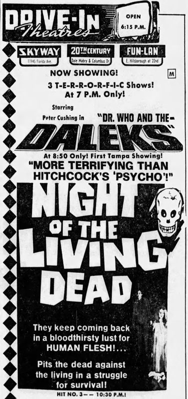 Night of the Living Dead Newspaper ad from The Tampa Tribune Thu Mar 20 1969