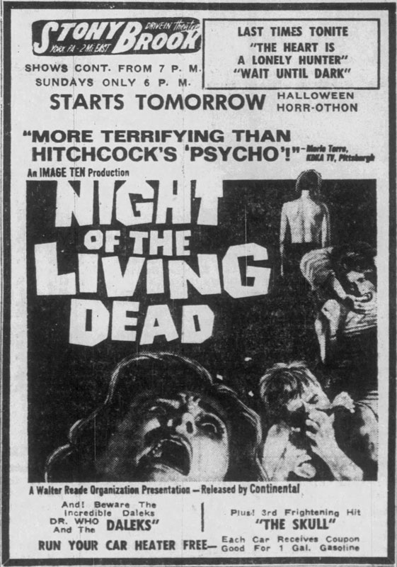 Night of the Living Dead Newspaper Ad from   The York Dispatch Tue Oct 22 1968