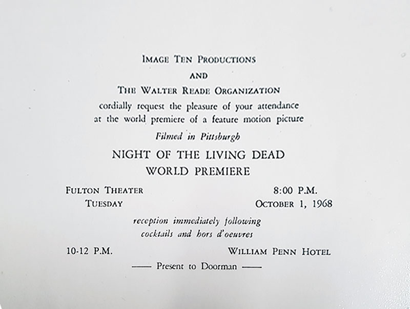 Night of the Living Dead Wold Premiere Invite. October 1, 1968