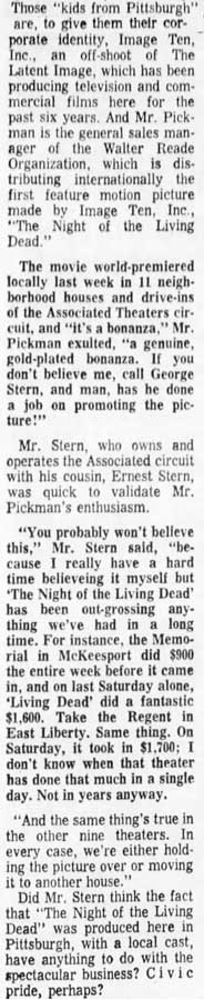 Night of the Living Dead Newspaper Story from Pittsburgh Post Gazette Wed Oct 9 1968