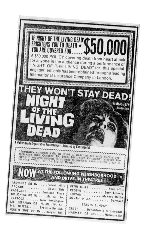 Night of the Living Dead Newspaper ad from Pittsburgh Post Gazette Wed Oct 9 1968 $50,000 Insurance Policy