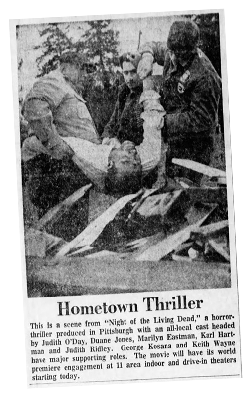 Night of the Living Dead Hometown Thriller Newspaper article from Pittsburgh Post Gazette Wed Oct 9 1968