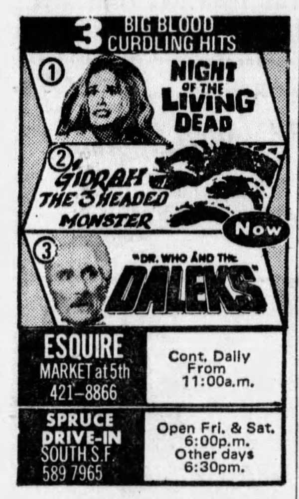 Night of the Living Dead Newspaper ad from The San Francisco Examiner Wed Dec 18 1968