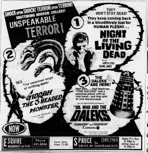 Night of the Living Dead Newspaper ad from The San Francisco Examiner Fri Dec 13 1968