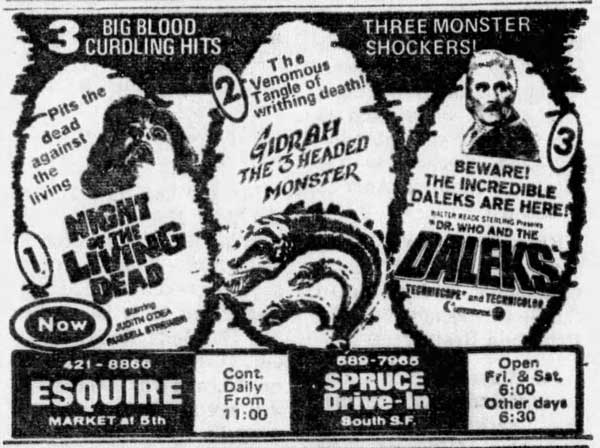 Night of the Living Dead Newspaper ad from The San Francisco Examiner Sat Dec 14 1968