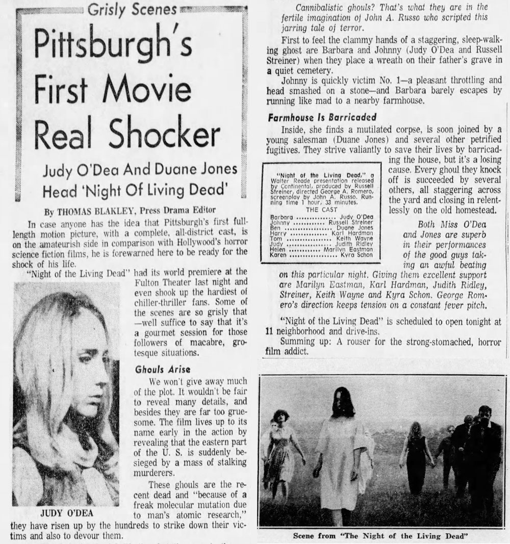 Night of the Living Dead Newspaper Story from The Pittsburgh Press Wed Oct 2 1968. Pittsburgh's First Movie Real Shocker