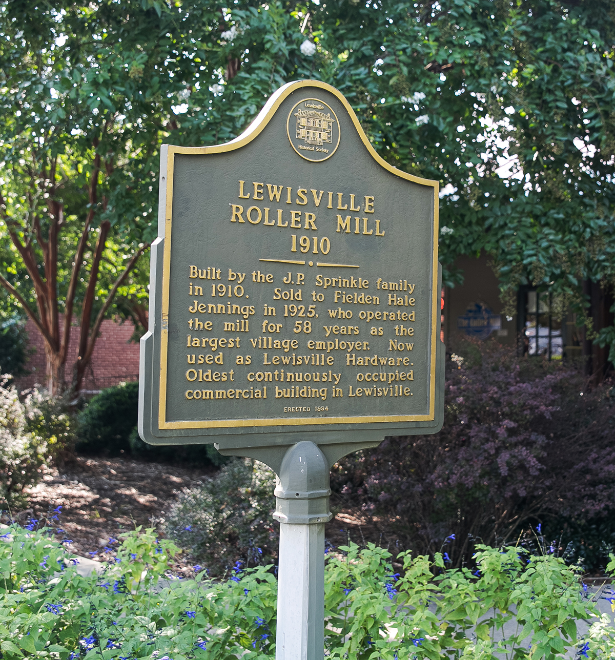 Lewisville Roller Mill 1910 historical sign