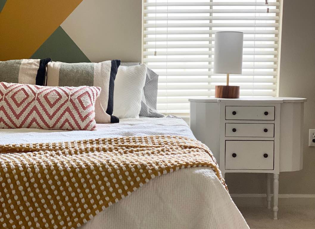 A gorgeous bedroom that is calming and stylish
