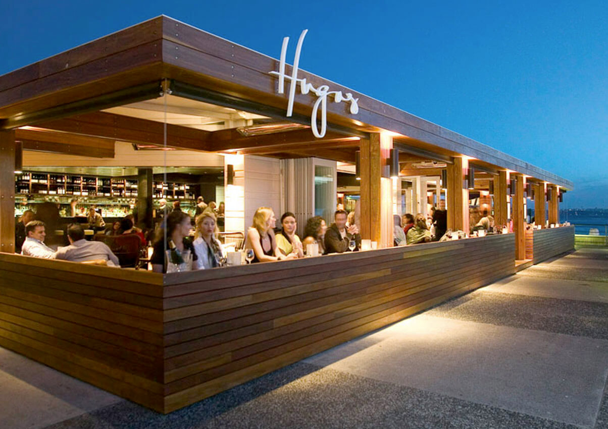 Photo of Hugos restaurant from wharf entrance