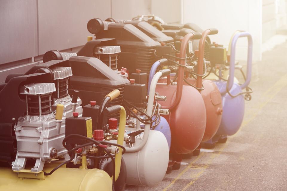 Close up of air compressors pressure pumps