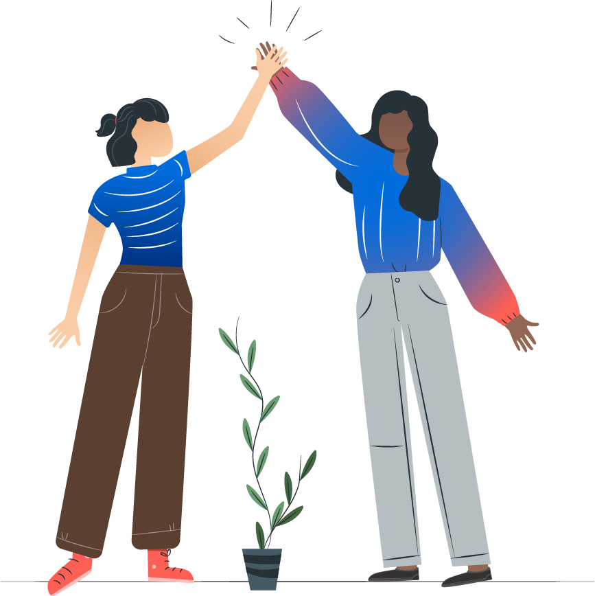 a character illustration of two women high-fiving.
