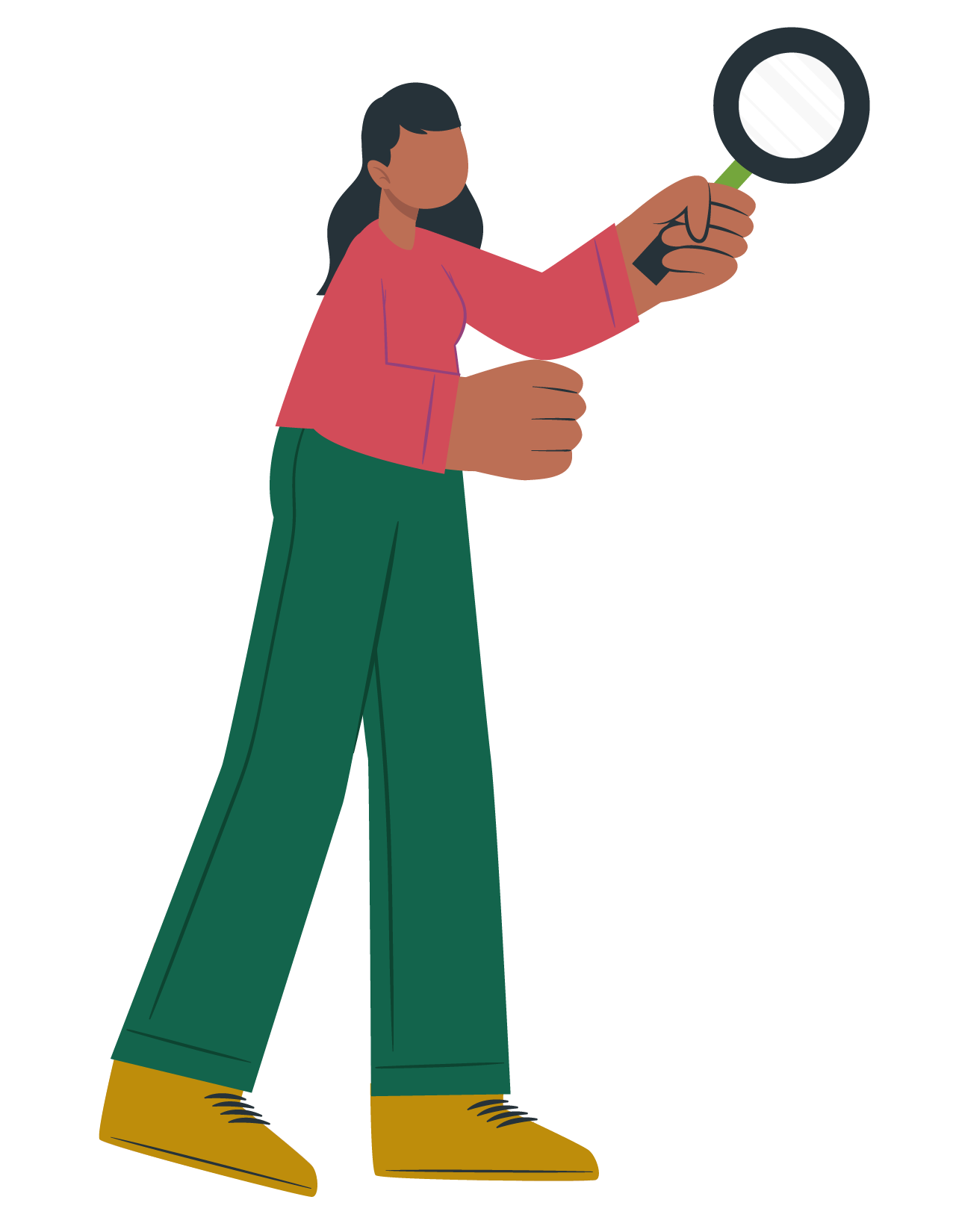 Ilustración de mujer con lupa
