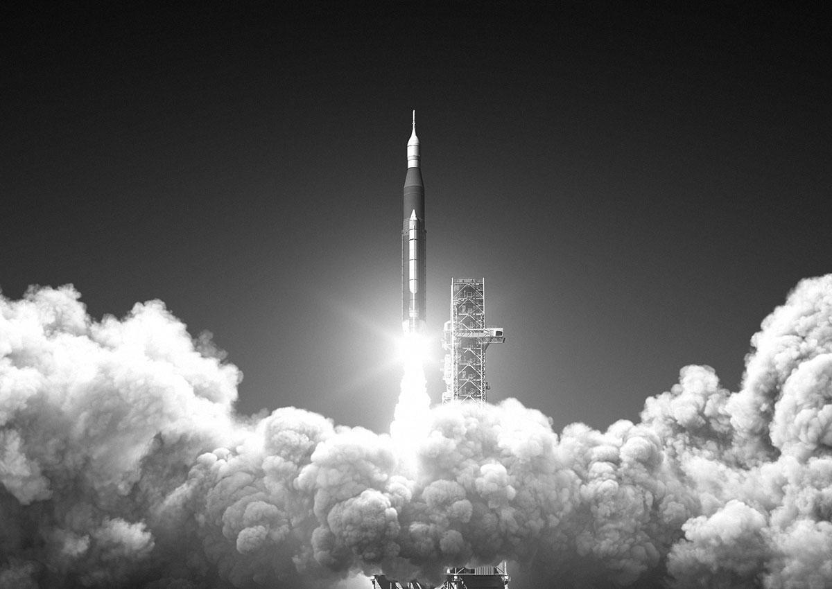 Photo vintage décollage d'une fusée