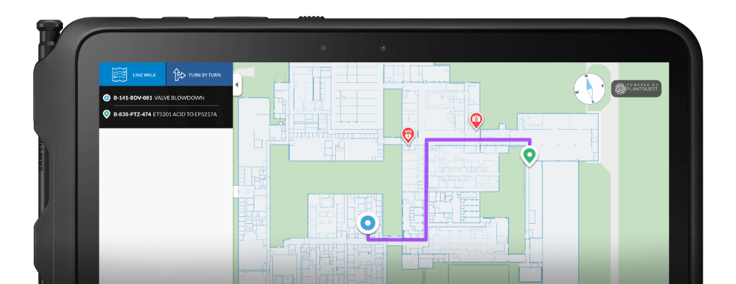 To locate your asset, simply enter the tag of the asset as your destination -like you would do on any typical navigational solution. PlantQuest then presents you with visual and turn by turn directions to guide you to your chosen asset using the most efficient route. Site Familiarisation Tool.  Navigate to Equipment.